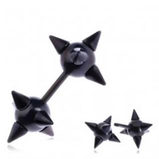 Falošný oceľový piercing do ucha - čierna špicatá hviezdica