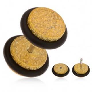 Falošný plug do ucha z akrylu, trblietavý povrch zlatej farby, gumičky