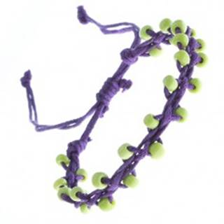 Fialový náramok priateľstva - zelené korálky na motúze