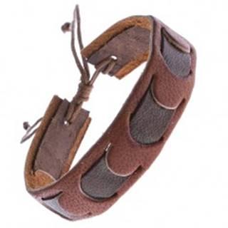 Karamelový kožený náramok s tmavým pruhom