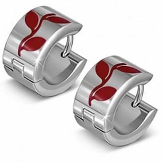 Kruhové náušnice z ocele s motívom červených lístkov
