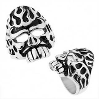 Mohutný prsteň z ocele 316L, strieborná farba, lebka s patinovanými zárezmi - Veľkosť: 57 mm