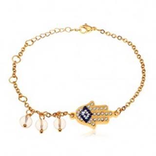 Náramok z chirurgickej ocele, zlatý odtieň, modro-číra ruka Hamsa, číre korálky
