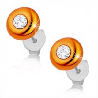 Náušnice zo striebra 925, vypuklý oranžový kruh, okrúhly číry zirkónik