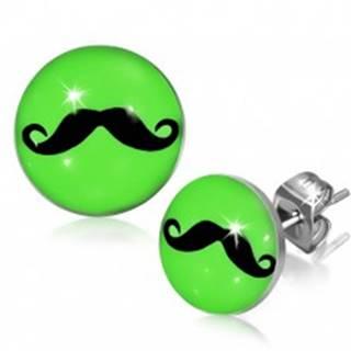Neónovo zelené kruhové náušnice z ocele s fúzikmi