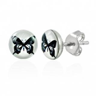 Oceľové náušnice - biely kruh s čiernym motýľom, puzetky