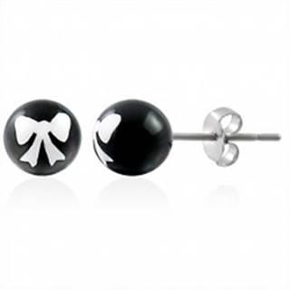 Oceľové náušnice, čierna gulička s bielou mašličkou, puzetové zapínanie