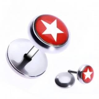 Oceľový fake piercing do ucha - hviezda v červenom kruhu