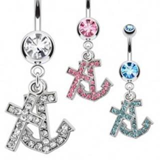 Oceľový piercing do pupku s príveskom kotvy a kríža, zirkóny - Farba zirkónu: Aqua modrá - Q