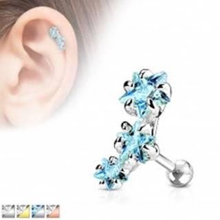 Oceľový piercing do tragusu ucha, oblúk z troch zirkónových hviezdičiek - Farba zirkónu: Aqua modrá - Q