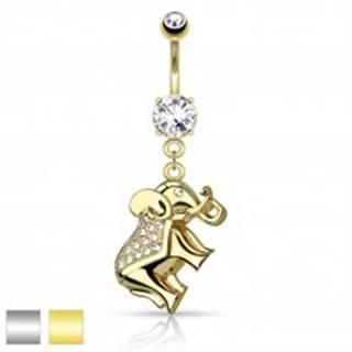 Piercing do brucha z chirurgickej ocele, ligotavý sloník zdobený zirkónmi - Farba piercing: Strieborná