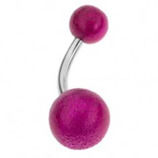 Piercing do bruška, guličky fuksiovej farby, perleťový lesk, akryl