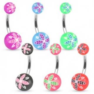Piercing do pupku z ocele, farebné guličky z akrylu, kvetinový motív - Farba piercing: Červená