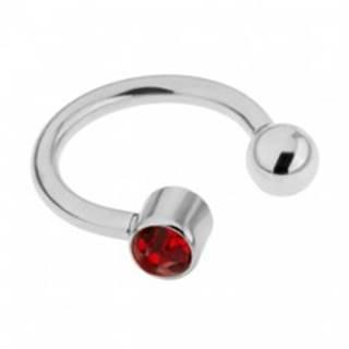 Piercing z ocele do obočia - podkova striebornej farby, červený zirkón