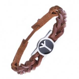 Pletený náramok z kože, kovová známka, runy, Algiz