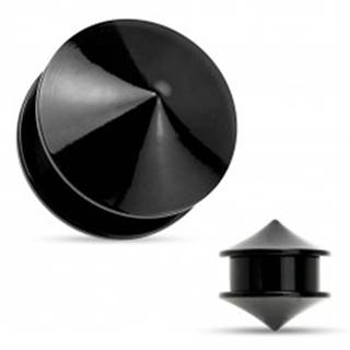 Plug do ucha, akryl čiernej farby, dva lesklé hladké kužele - Hrúbka: 10 mm