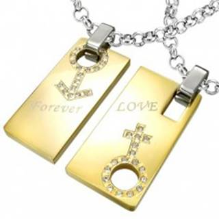 Prívesok z ocele Forever Love - znak muža a ženy