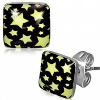 Puzetové náušnice z ocele - štvorec so žltými hviezdami