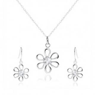 Strieborná 925 sada - náhrdelník a visiace náušnice, kvet so zirkónom