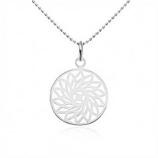 Strieborný náhrdelník 925, guličková retiazka, vyrezávaný kvet v kruhu