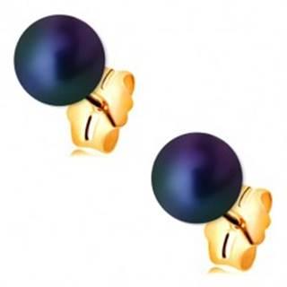 Zlaté náušnice 585 - guľatá perla s farebným odleskom, puzetové zapínanie