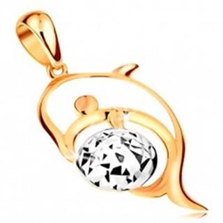 Zlatý 14K prívesok - kontúra delfína, lopta z bieleho zlata zdobená zárezmi