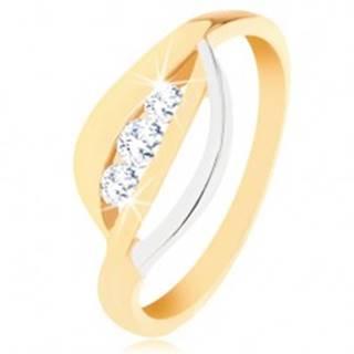 Zlatý prsteň 375 - dvojfarebné zvlnené línie, tri okrúhle zirkóny čírej farby - Veľkosť: 49 mm
