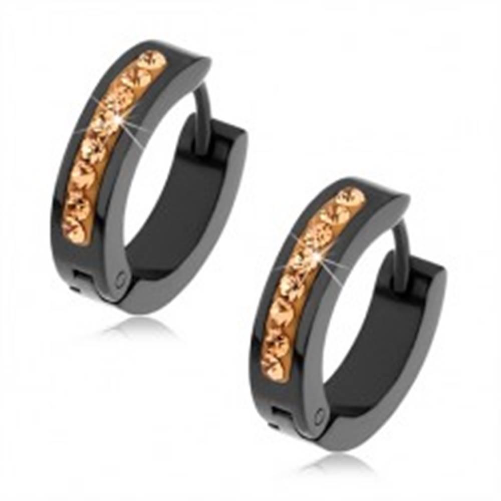 Šperky eshop Čierne náušnice z chirurgickej ocele, zirkóny zlatej farby