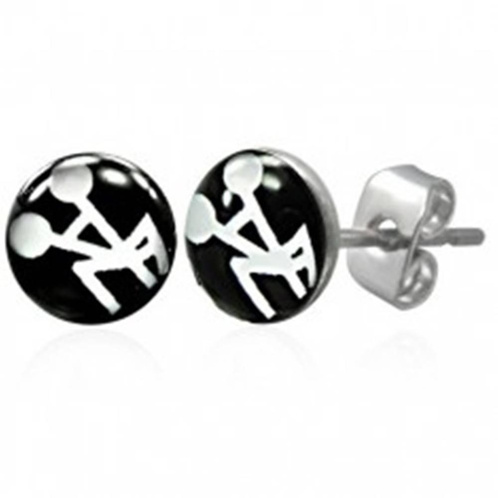 Šperky eshop Čierno - biele náušnice z ocele sexuálny motív
