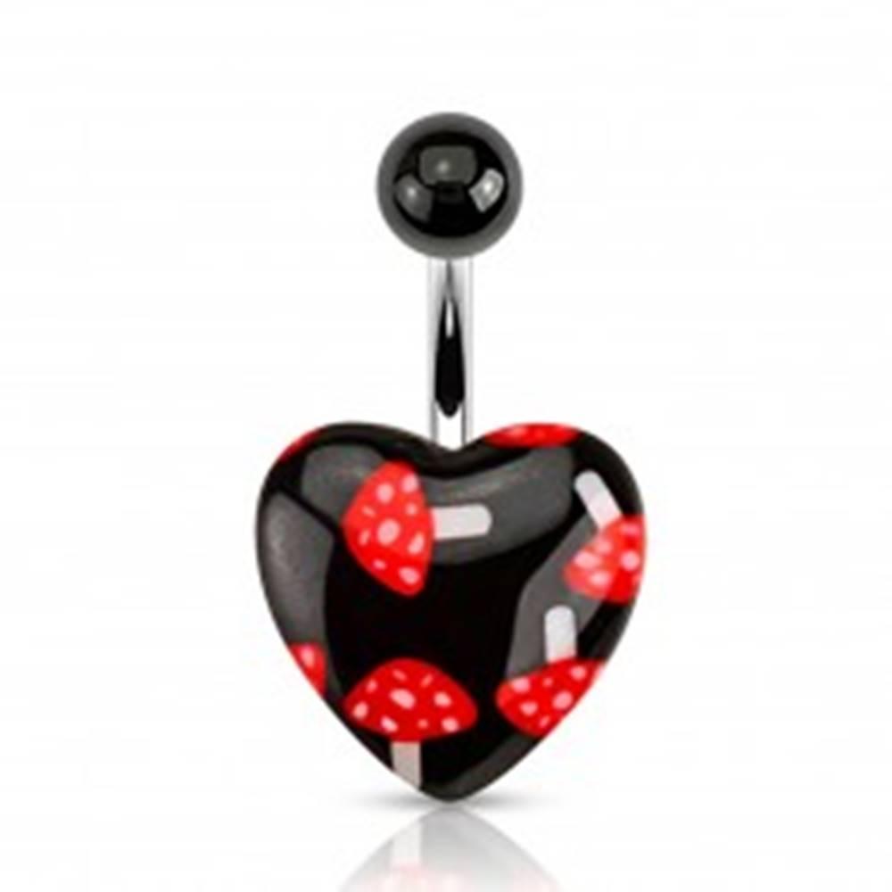 Šperky eshop Čierny piercing do bruška z ocele, gulička, srdce - červené muchotrávky