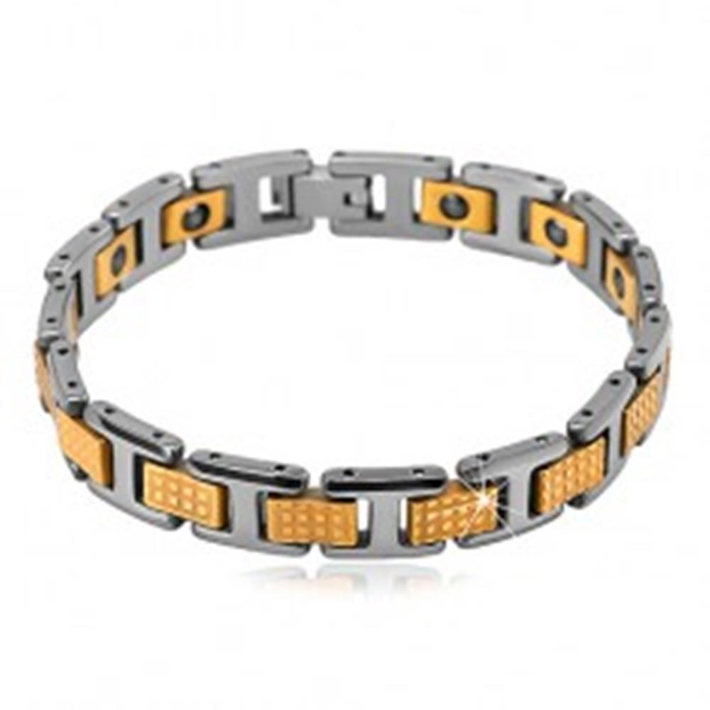 Šperky eshop Dvojfarebný tungstenový náramok - lesklé obdĺžnikové a H-články, magnety