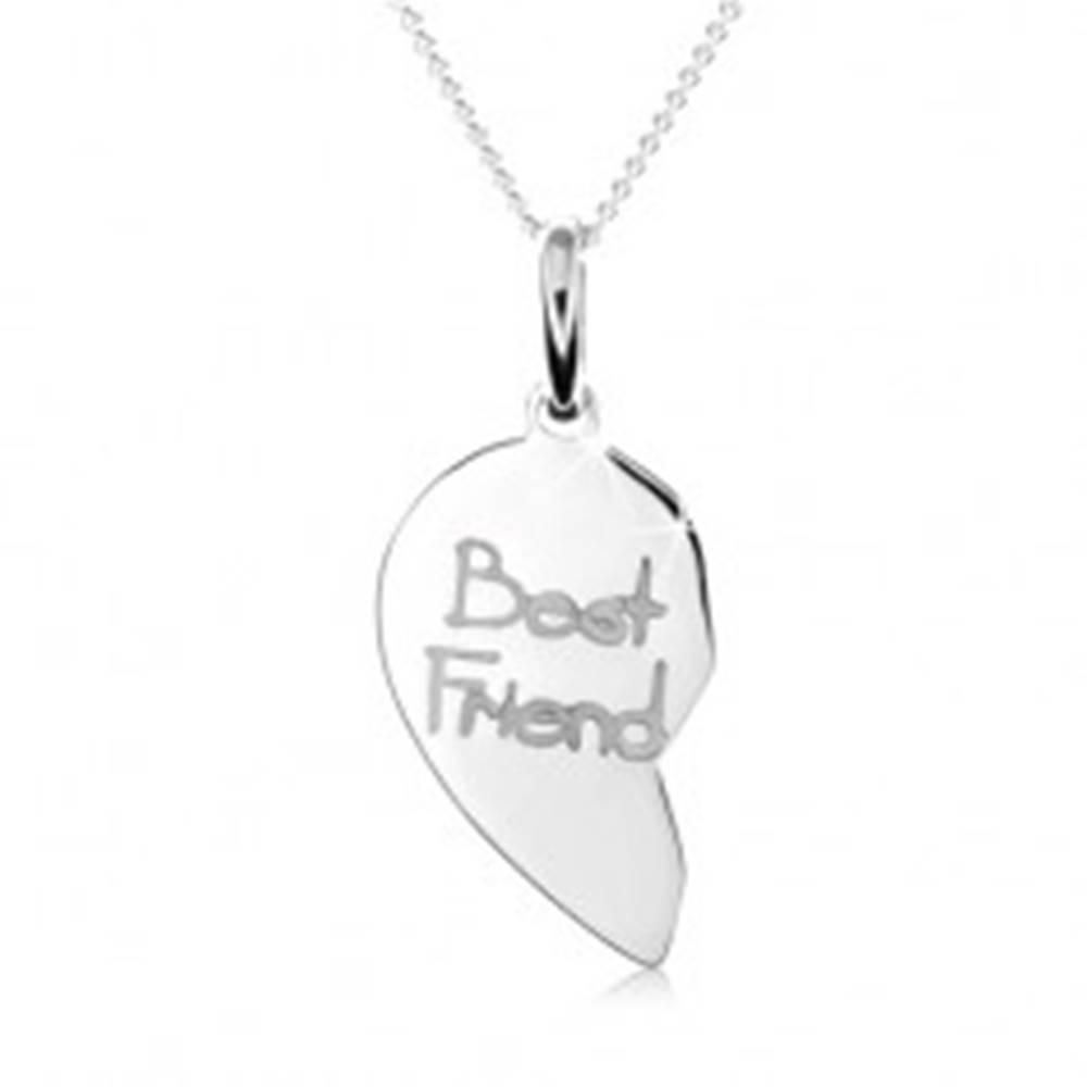 """Šperky eshop Dvojitý strieborný náhrdelník 925, dvojprívesok srdca, nápis """"Best Friend"""""""