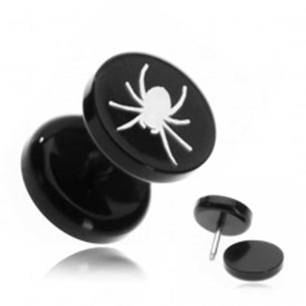 Šperky eshop Fake piercing do ucha z akrylu - pavúk v čiernom kruhu