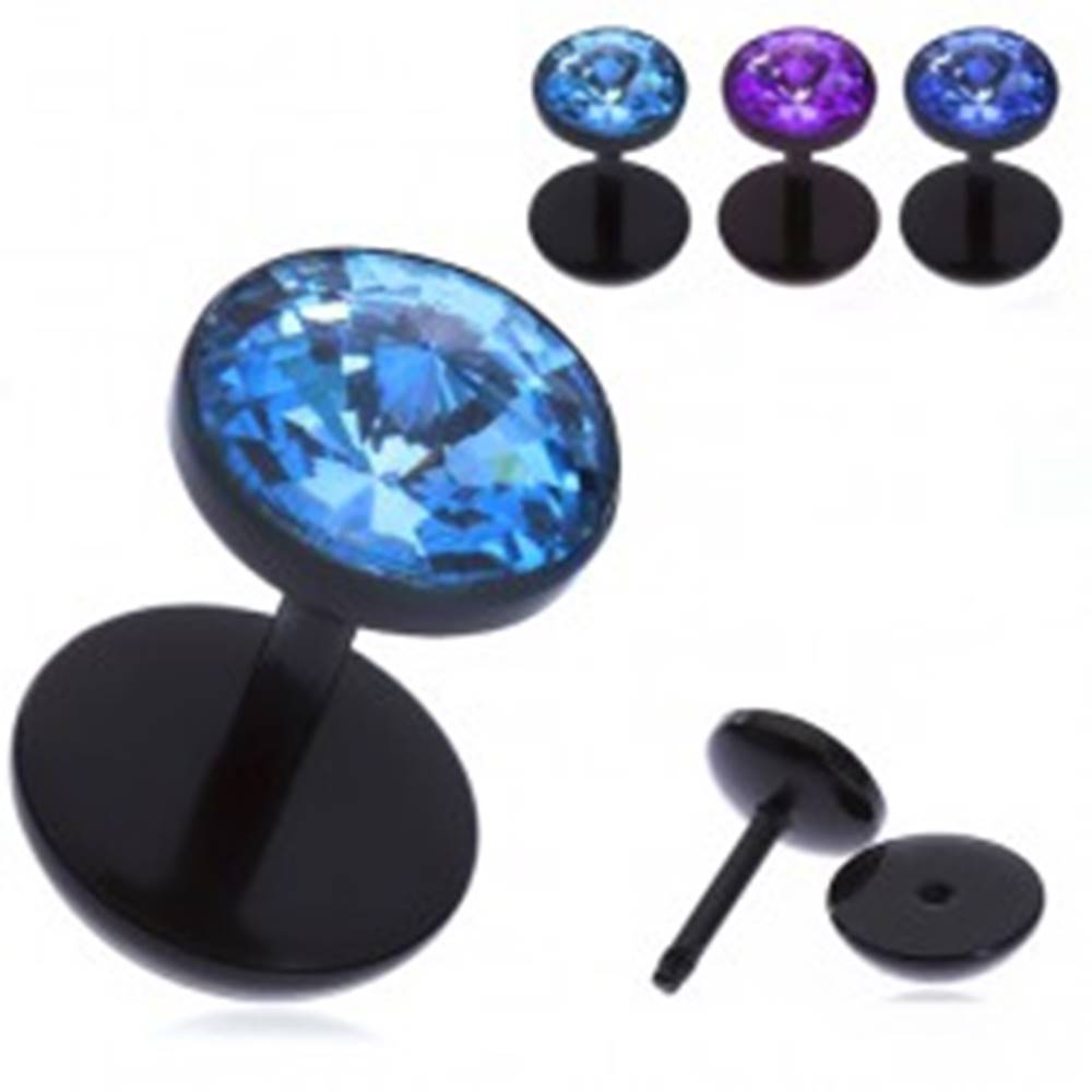 Šperky eshop Falošný akrylový piercing do ucha - lúčovitý zirkón v objímke - Farba zirkónu: Aqua modrá - Q