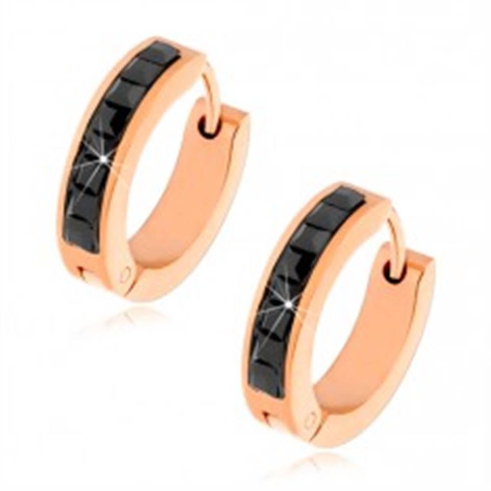 Šperky eshop Kĺbové náušnice medenej farby z ocele, čierne štvorcové kamienky