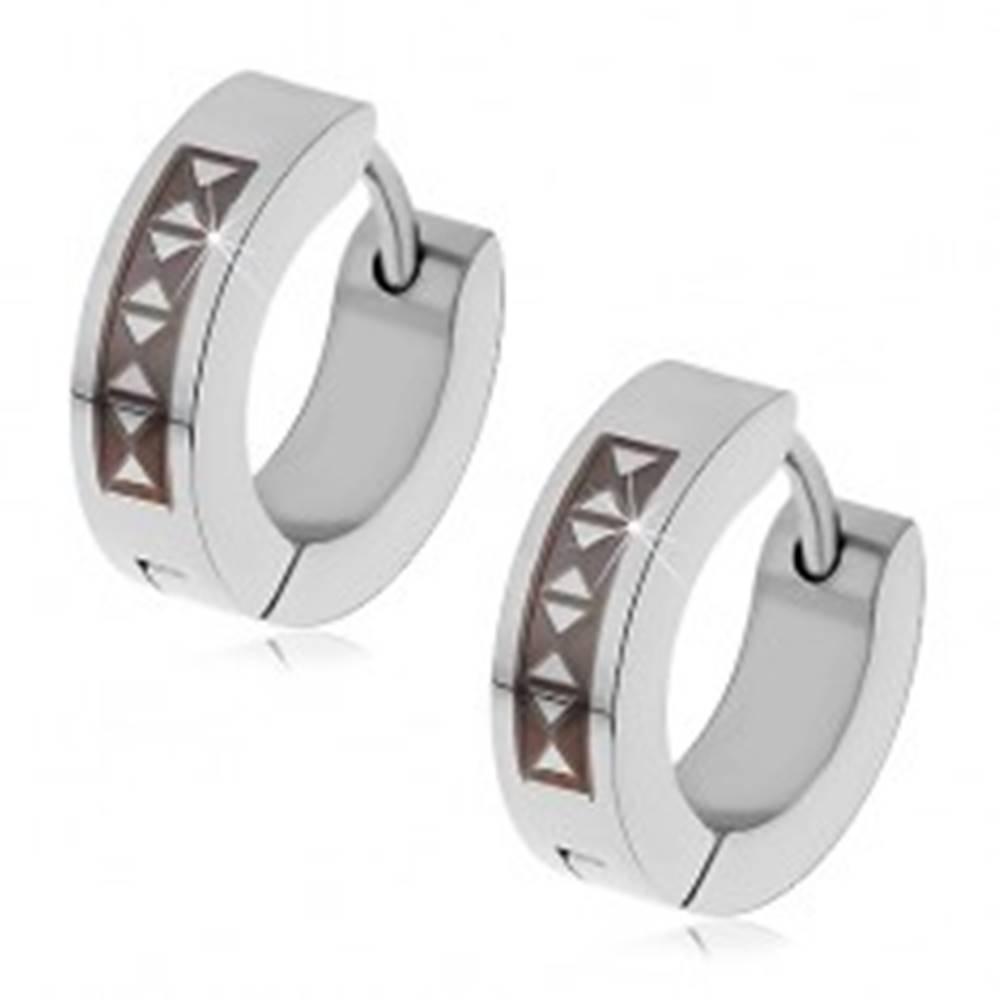Šperky eshop Kĺbové náušnice z ocele 316L s čiernym trojuholníkovým vzorom