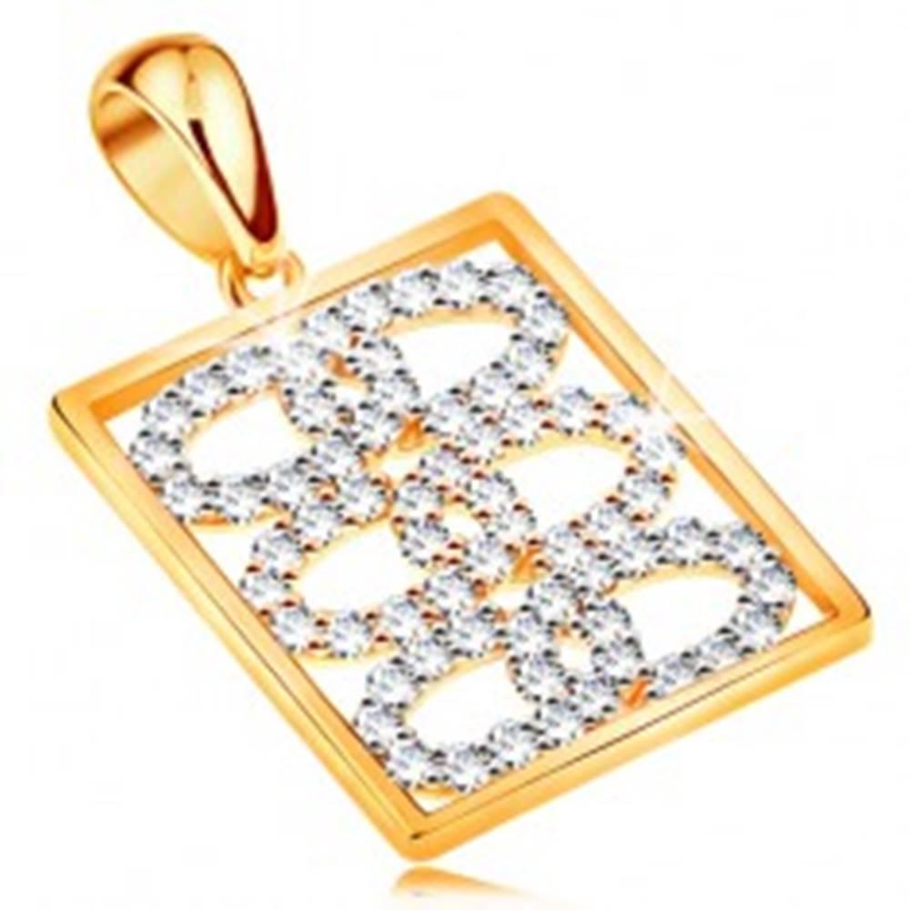 Šperky eshop Ligotavý prívesok zo žltého 14K zlata - prepojené zirkónové obruče v obdĺžniku