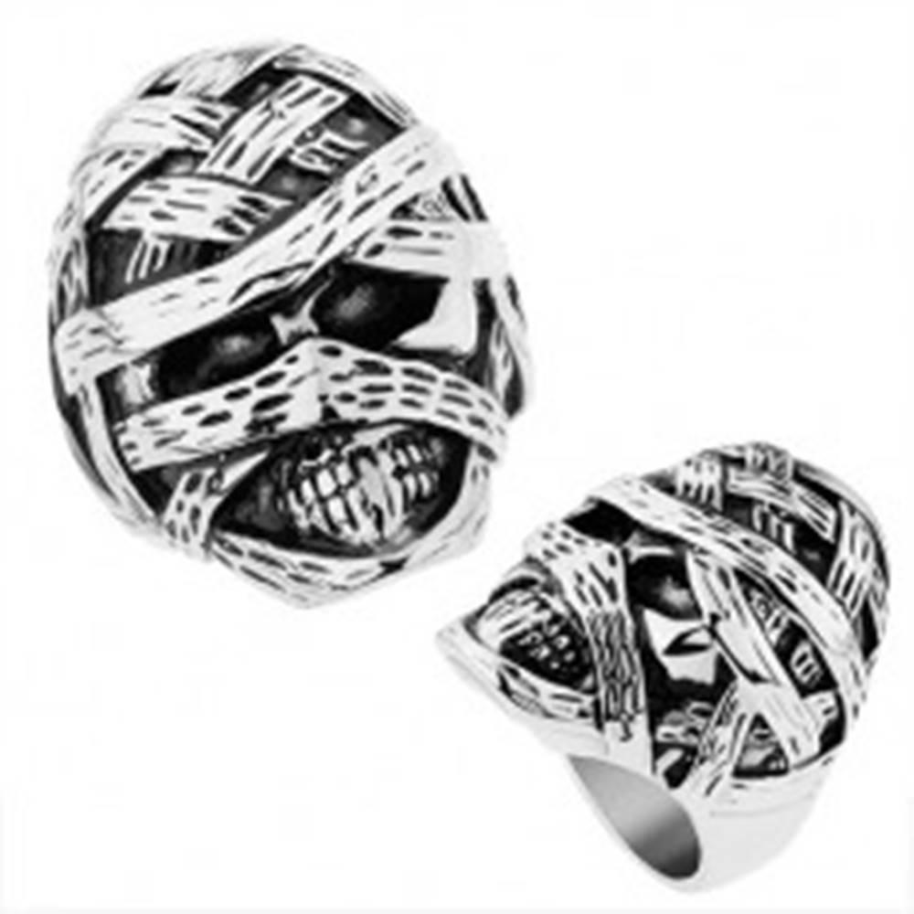 Šperky eshop Masívny prsteň z ocele 316L, lesklý a patinovaný povrch, vypuklá múmia - Veľkosť: 57 mm