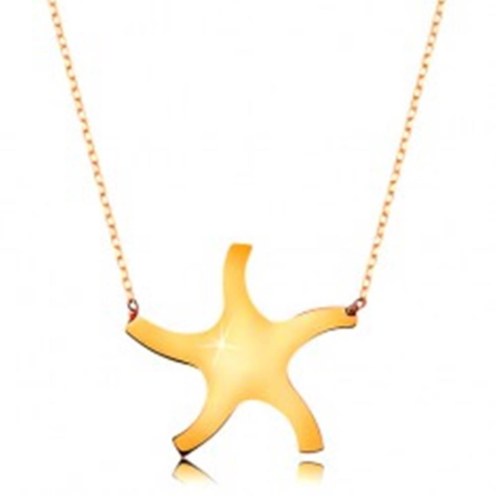 Šperky eshop Náhrdelník v žltom 9K zlate - lesklé hladké slniečko, tenká ligotavá retiazka