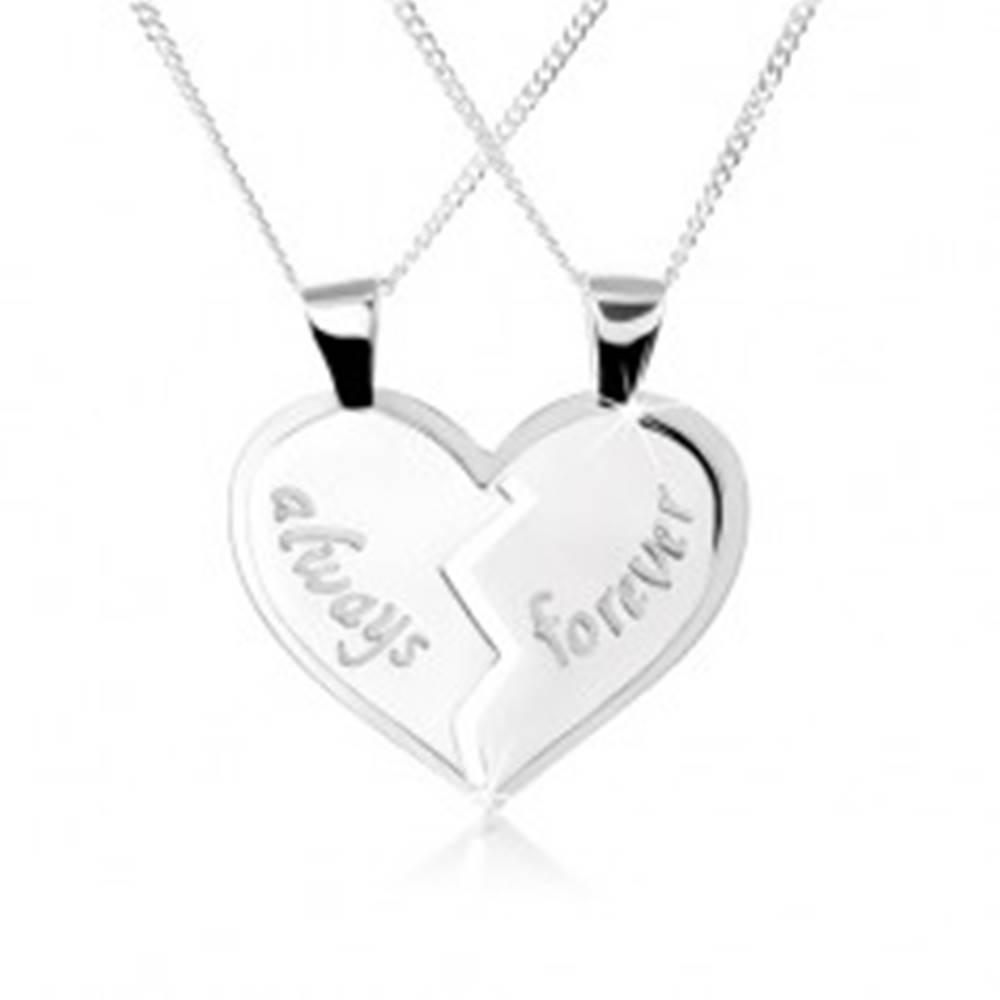 """Šperky eshop Náhrdelník zo striebra 925, dvojprívesok - rozpolené srdce, nápisy """"always"""", """"forever"""""""