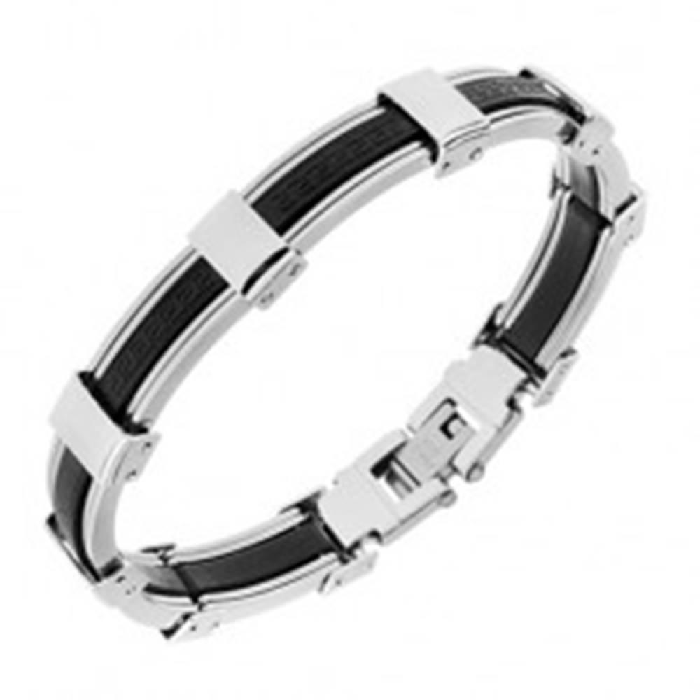 Šperky eshop Náramok z gumy a ocele, čierna a strieborná farba, grécky kľúč - Dĺžka: 205 mm