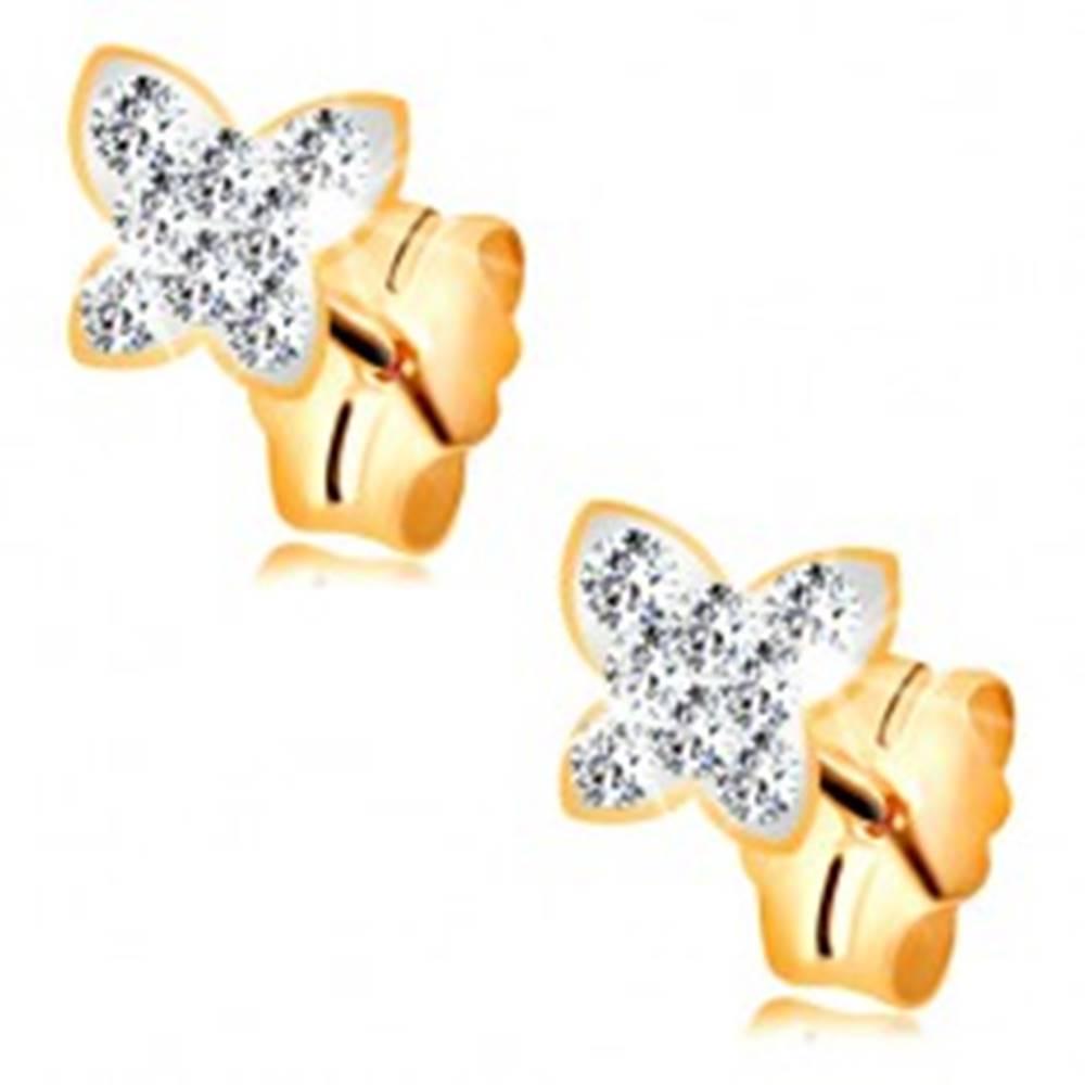 Šperky eshop Náušnice v žltom 14K zlate - motýlik vykladaný Swarovského krištáľmi