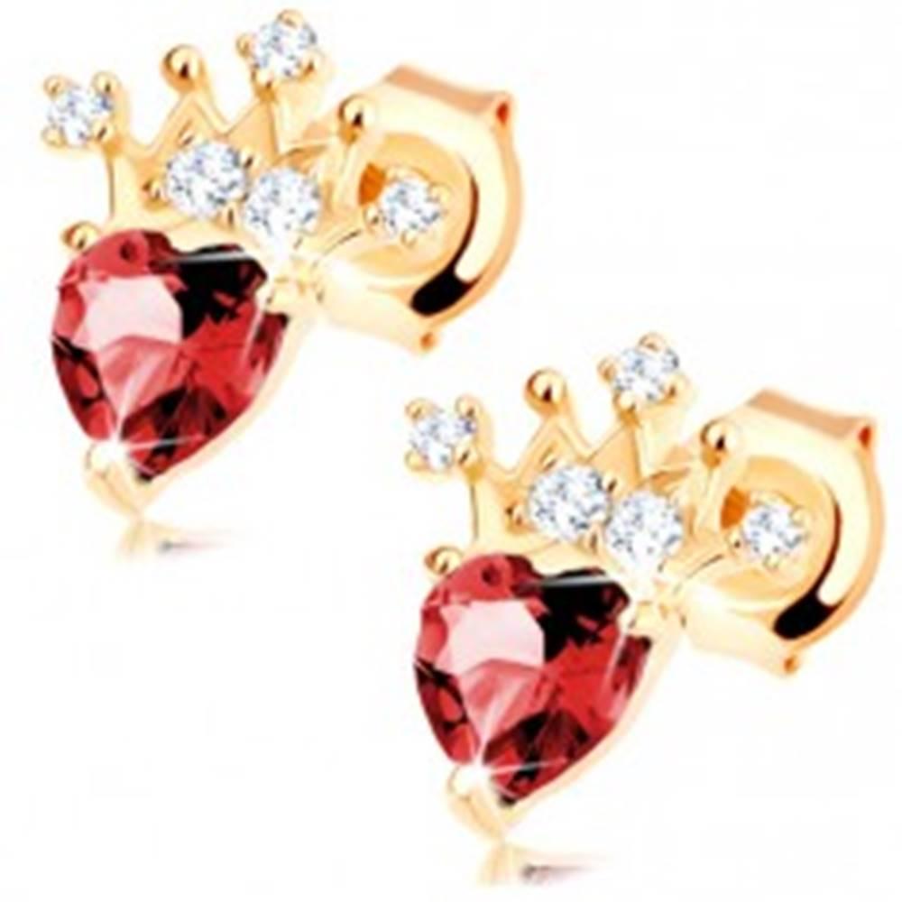 Šperky eshop Náušnice v žltom 14K zlate - srdiečkový červený granát, trblietavá korunka