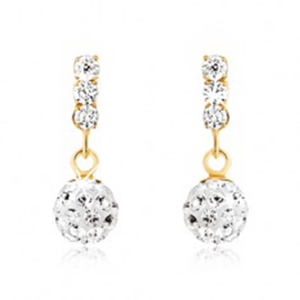 Šperky eshop Náušnice v žltom 9K zlate, ligotavá zirkónová guľôčka, tri číre kamienky