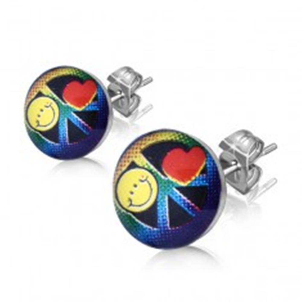 Šperky eshop Náušnice z chirurgickej ocele - farebný symbol mieru v krúžku