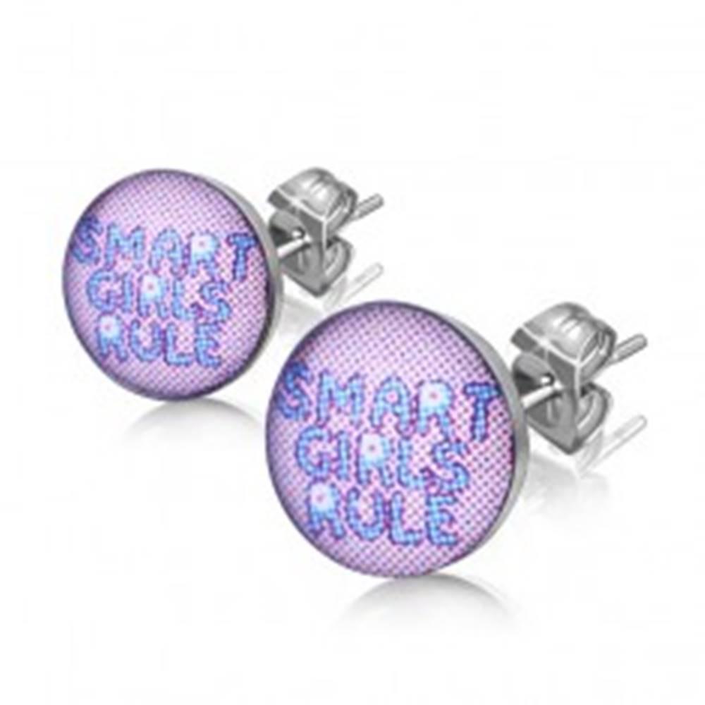 "Šperky eshop Náušnice z chirurgickej ocele - text ""SMART GIRLS RULE"""