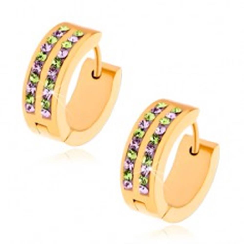 Šperky eshop Náušnice z chirurgickej ocele, zlatá farba, fialové a zelené zirkóny
