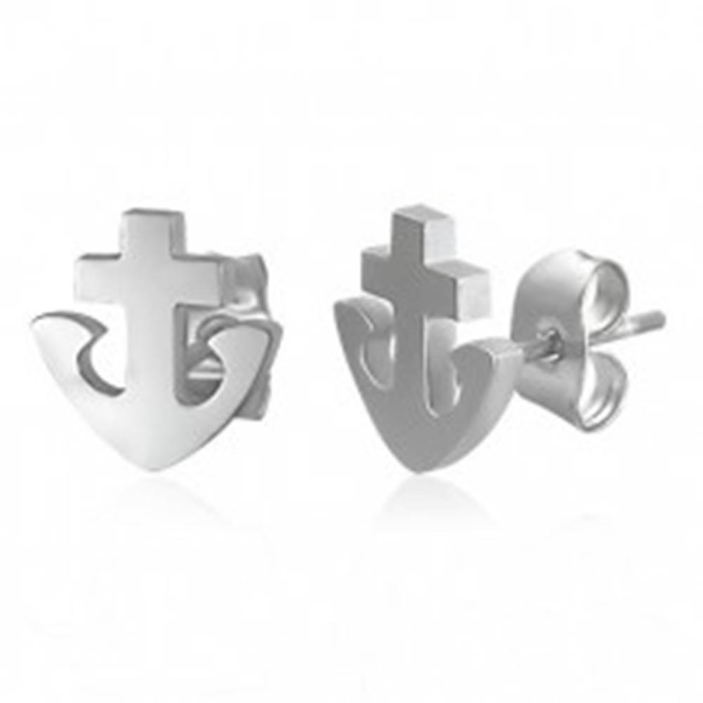 Šperky eshop Náušnice z ocele 316L - kotva a kríž, strieborná farba, puzetky