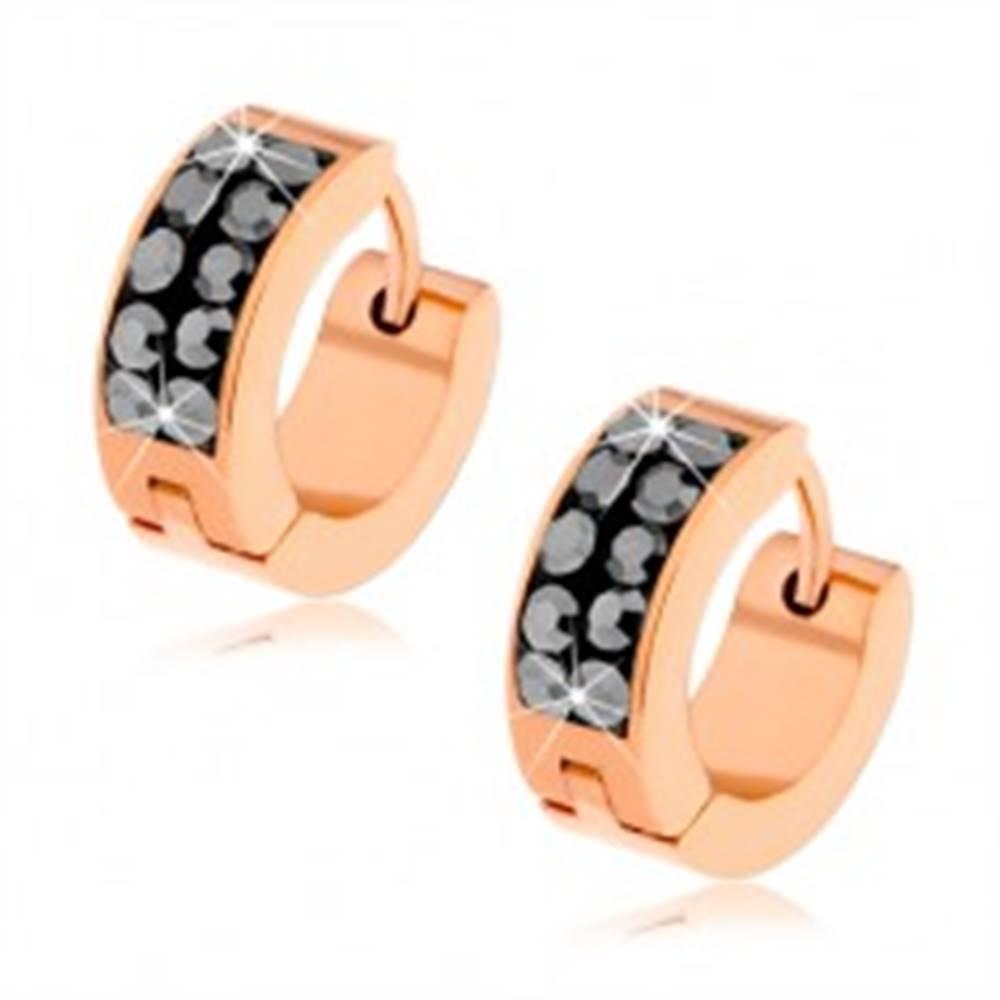 Šperky eshop Náušnice z ocele 316L, medená farba, oceľovo sivé ligotavé zirkóny