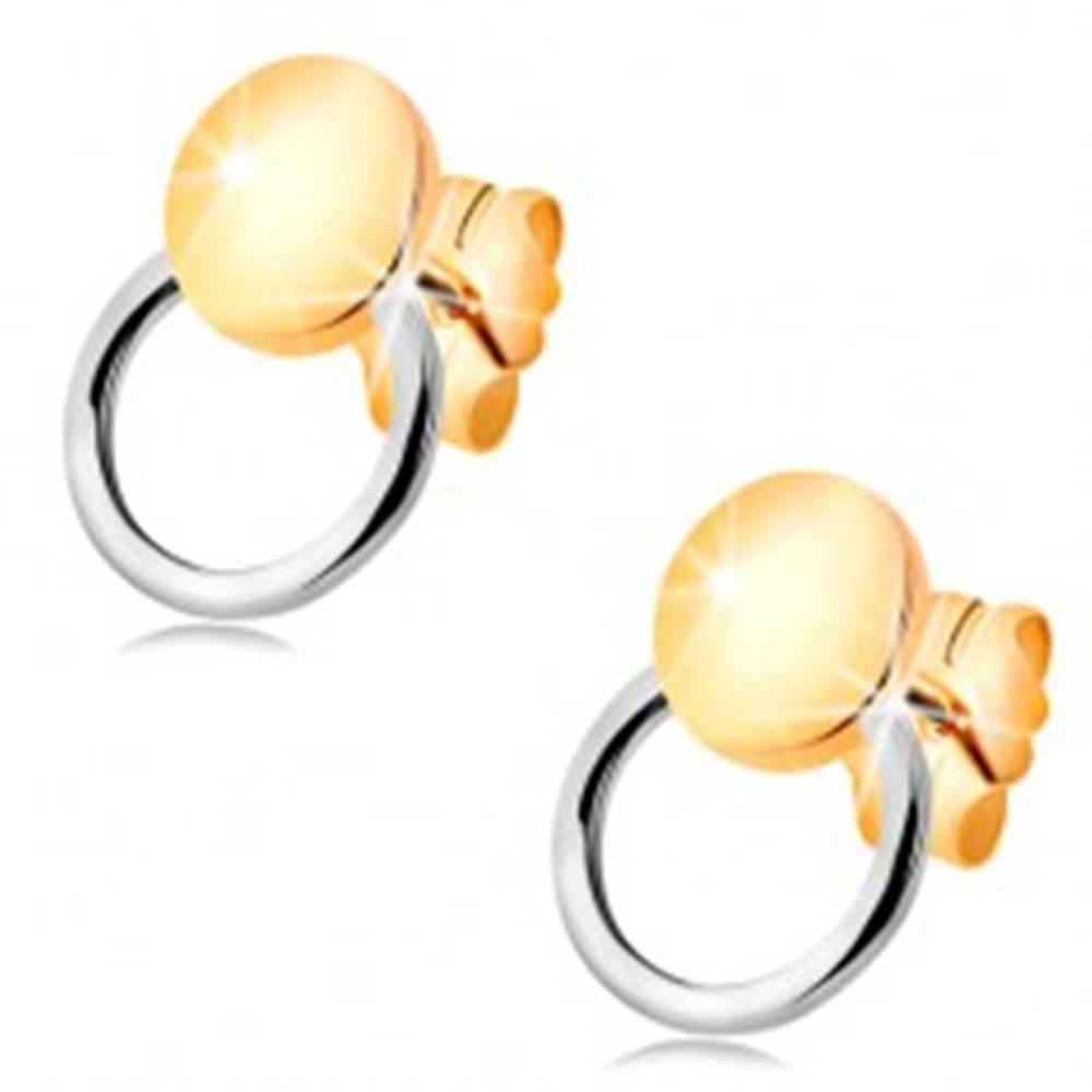 Šperky eshop Náušnice zo 14K zlata - lesklý kruh s tenkou obručou, dvojfarebné prevedenie